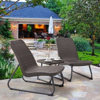 Gymax 3 Piece All Weather Patio Garden Outdoor Conversation Chair & Table Set Gray