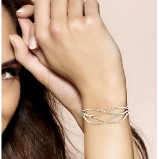Link to 1/2 ct TDW Diamond Bangle in Silver by De Couer Similar Items in Bracelets