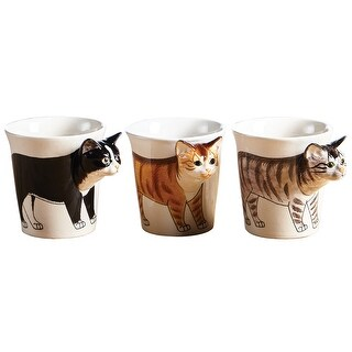 Sea Island Hand Painted Cat Mug - 3D Sculpted Handle - 4 in.