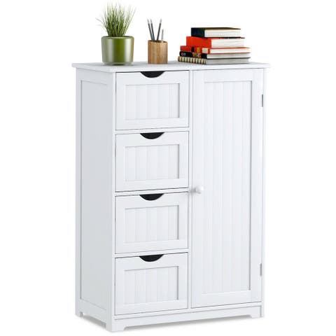 Costway Wooden 4 Drawer Bathroom Cabinet Storage Cupboard 2 Shelves