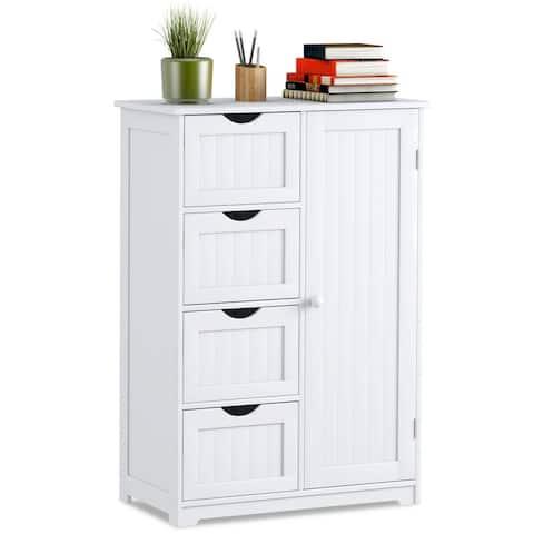 Costway Wooden 4 Drawer Bathroom Cabinet Storage Cupboard 2 Shelves