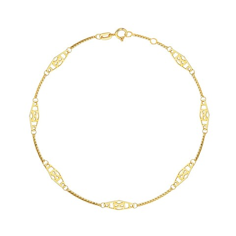 MCS Jewelry Inc 14 KARAT YELLOW GOLD SOLID INFINITY THIN ANKLE ANKLET BRACELET (ADJUSTABLE 9-10 INCHES)