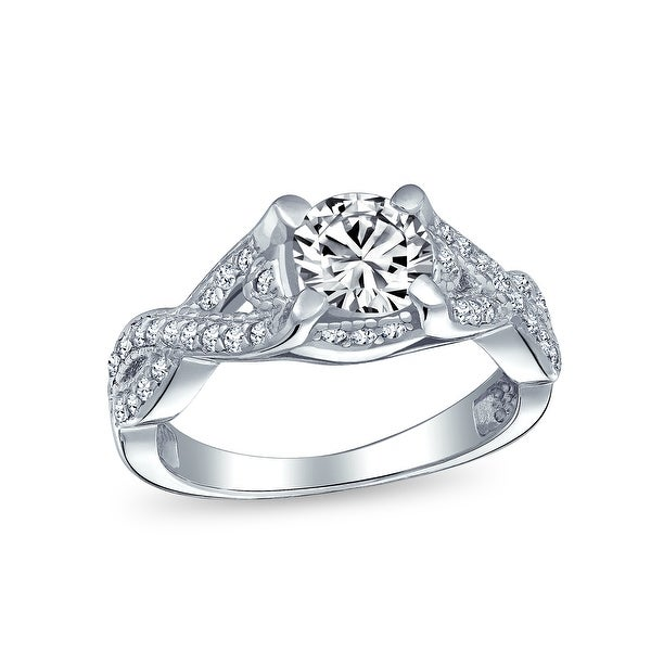 2CT Solitaire Cut AAA CZ Infinity Engagement Ring Sterling Silver. Opens flyout.