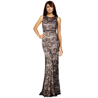 Nightway Petite Open Back Sequined Lace Evening Gown Dress - 8P