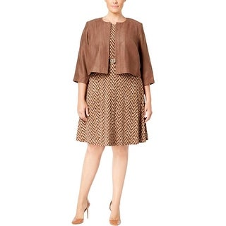 Jessica Howard Womens Plus Dress With Jacket Printed Sleeveless