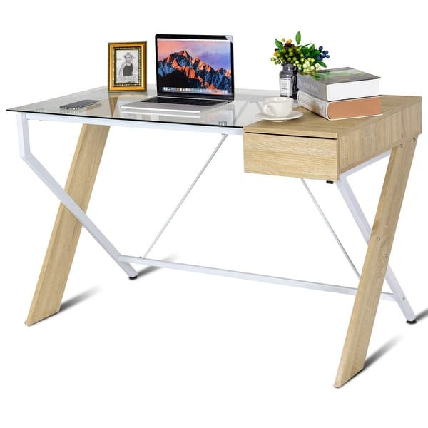 Shop Costway Clear Glass Top Computer Desk Wood Metal Frame ...
