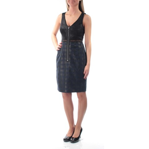 RACHEL ROY Womens Black Embellished Sleeveless Zip Neck Knee Length Dress Size: 2