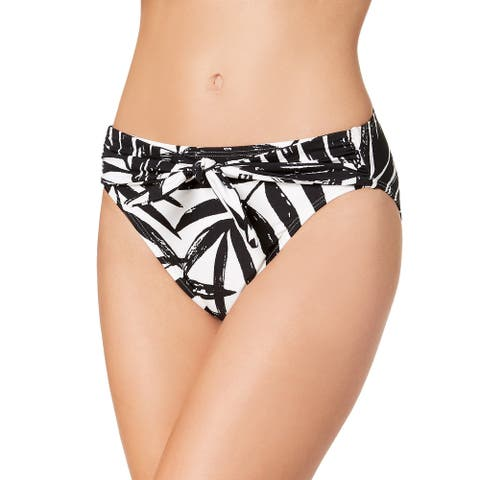Carmen Marc Valvo Women's Printed Front-Tie Bikini Bottoms (Black, Medium) - Medium