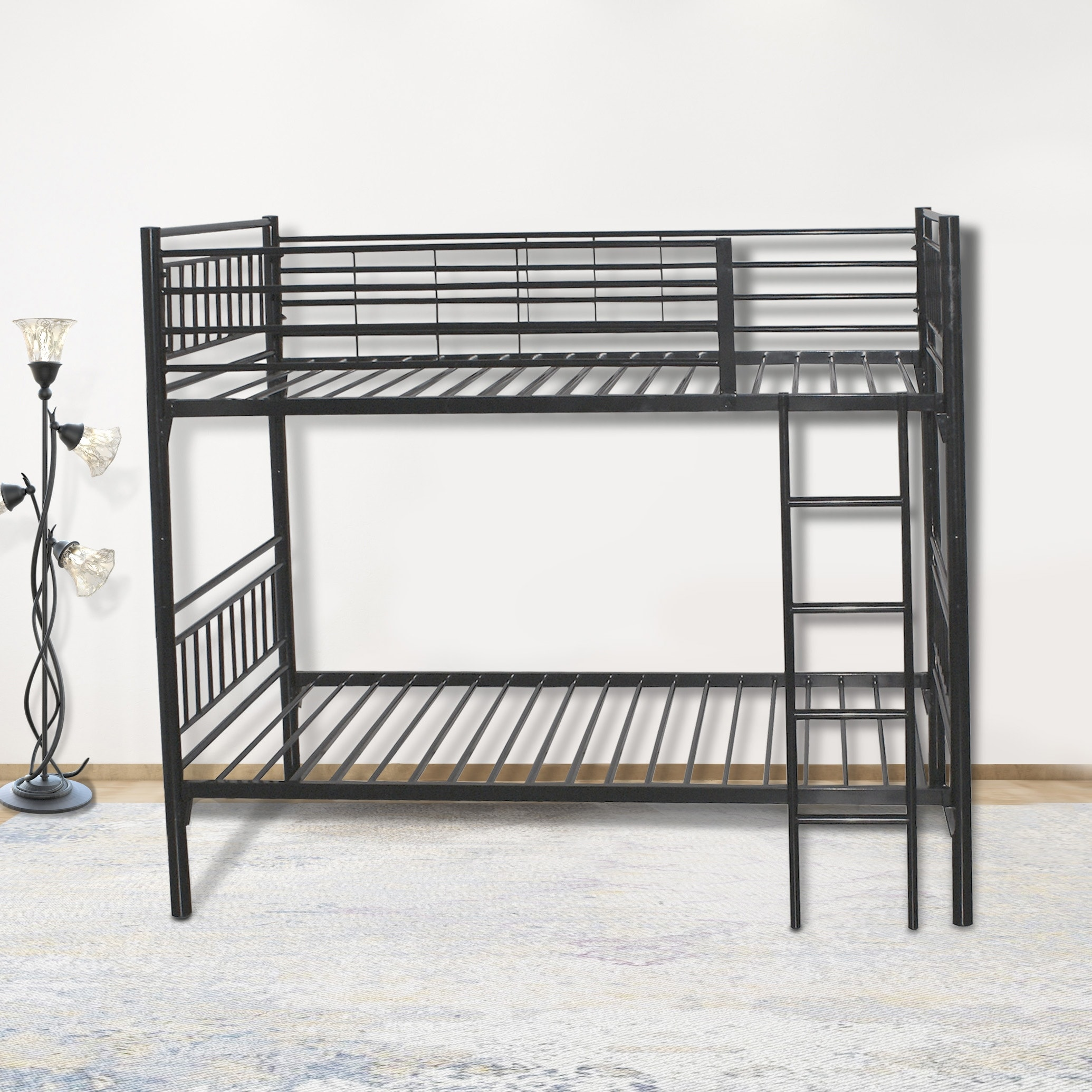 Picture of: Round Metal Tube Black Twin Bunk Beds With Build In Ladder For Easy Access To Upper Bunk On Sale Overstock 31664574