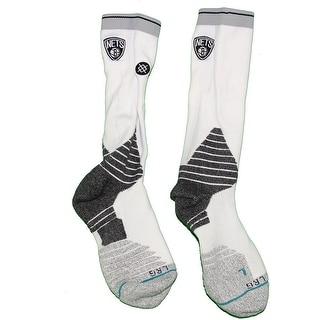 Markel Brown Brooklyn Nets 201516 Game Used 22 White and Black Socks w Nets Logo