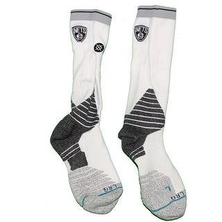 Shane Larkin Brooklyn Nets 201516 Game Used 0 White and Black Socks w Nets Logo