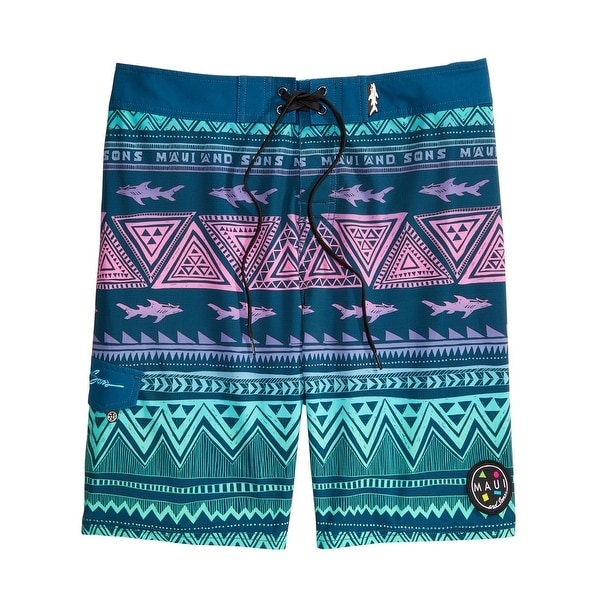 87a0b0d266b Shop Maui and Sons Mens Surfside Graphic Swimwear Swim Trunks - 34 - Free  Shipping On Orders Over  45 - Overstock - 26566332