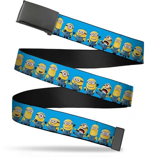 Blank Black Bo Buckle Despicable Me Minions Standing Lineup Blue Web Belt