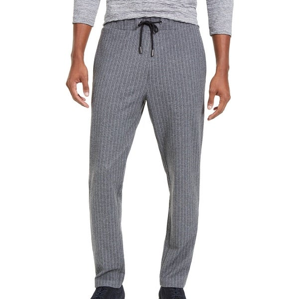 Alfani Mens Sweatpant Ice Heather Gray Large L Pinstripe Knit Drawstring. Opens flyout.