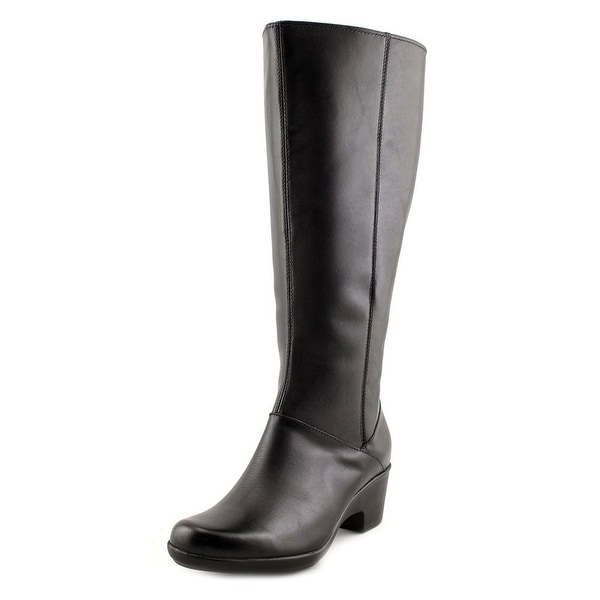 98e516d460bc Clarks Malia Skylar Wide Calf Women Round Toe Leather Black Knee High Boot