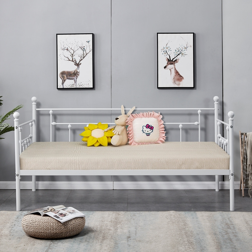 NEW Modern Brushed Pewter Scrolling Metal Daybed Day Bed Frame Home Furniture