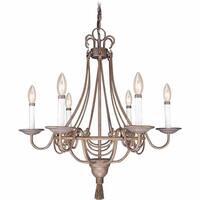 "Volume Lighting V2116 Kuta 6-Light 27"" Wide Taper Candle Chandelier - Prairie Rock - N/A"