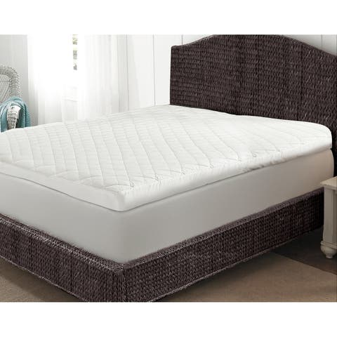 Overfilled Quilted Baffle Box 3-inch Gusset Featherbed - White