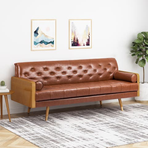 Barnard Mid-century Tufted Sofa with Accent Pillows by Christopher Knight Home