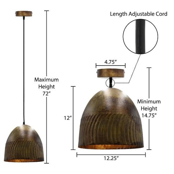 Carbon Loft Enstad 12-inch Fired Bronze Bowl 1-light Pendant