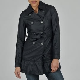 Buffalo Women's Double Breasted Belted Trench w/Ruffled Bottom|https://ak1.ostkcdn.com/images/products/is/images/direct/2a2b115fcf2eb8bf666e9692f08718c722f2640f/Buffalo-Women%27s-Double-Breasted-Belted-Trench-w-Ruffled-Bottom.jpg?impolicy=medium