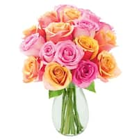 KaBloom: Bouquet of 18 Orange and Pink Roses (Farm-Fresh, Long-Stem) with Vase