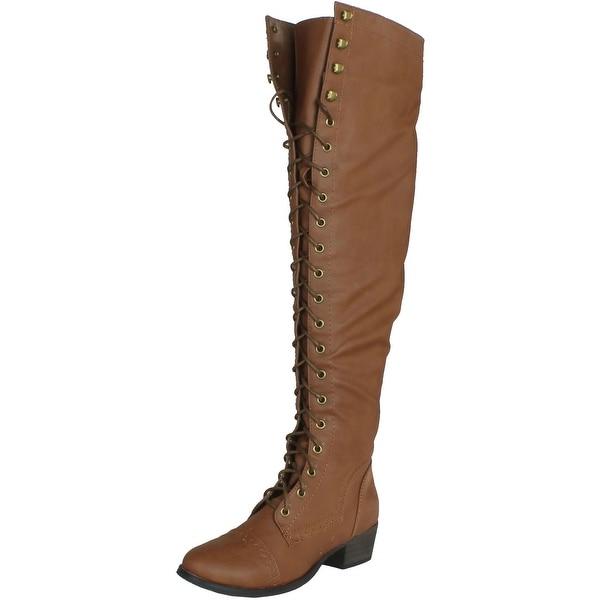 Breckelles Womens Alabama-12 Elastic Over Knee High Zipper Lace Up Combat Boot
