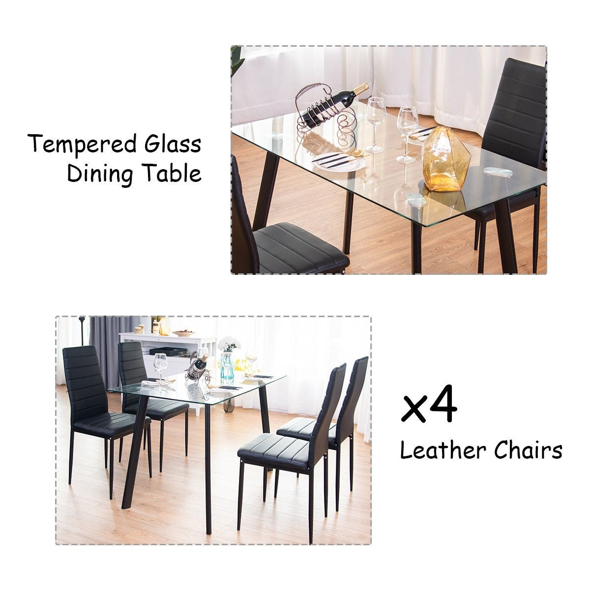 Delicieux Shop Costway Modern Glass Dining Table Set Tempered Glass Top U0026 PVC Leather  Chair W/4 Chairs Black   Free Shipping Today   Overstock   21620974