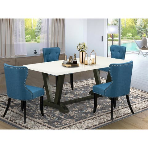 Parson Dining Chairs with Blue Linen Fabric Seat and Button Tufted Chair Back (Pieces and Bench Option)