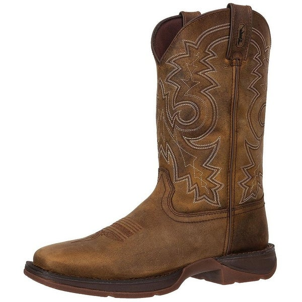 """Durango Western Boots Mens 12"""" Rebel Pull On Square Toe Brown"""