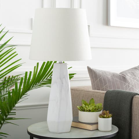 Caehiah Table Lamp with Grey Base and White Shade