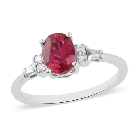 Shop LC 950 White Platinum Rubellite White Diamond Halo Ring Ct 1.5