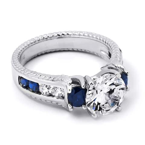 2.00 Carat Blue Sapphire Cubic Zirconia Gemstone Ring Sterling Silver