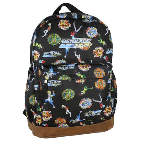 Beyblade Burst Spinner Top Allover Characters Anime Pattern School Book Bag Backpack - Blue