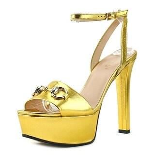 Gucci Kim   Open Toe Leather  Platform Heel