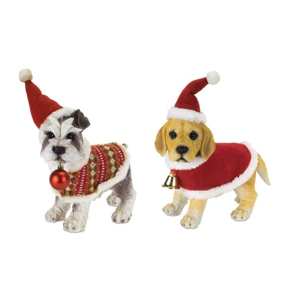 """Set of 4 Festive Christmas Dog Figures with Ornaments 12"""" - RED"""