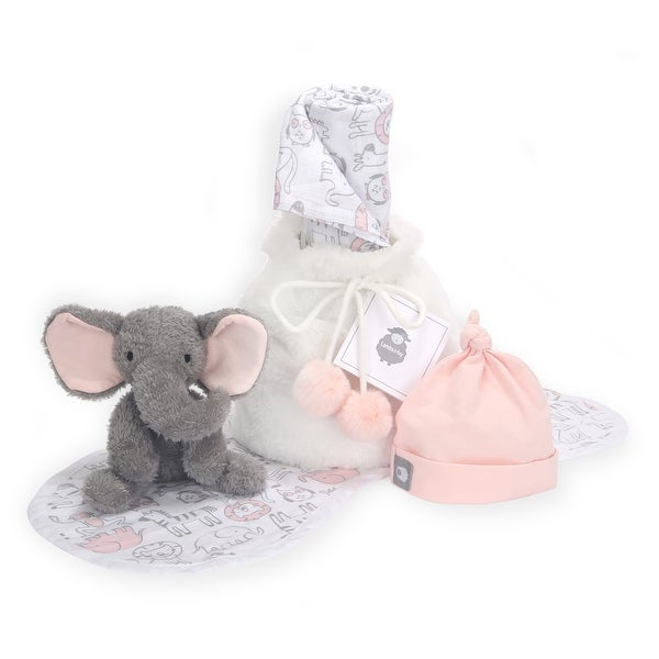 Lambs & Ivy 5 Piece Pink/Gray Baby Gift Bag for Infant/Newborn Baby Shower Gift. Opens flyout.