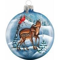 Holiday Splendor Glass Deer Crossing Ball 3.5 in. - Glass Ornament