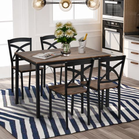 5-Piece Industrial Wooden Dining Table and 4 Chairs