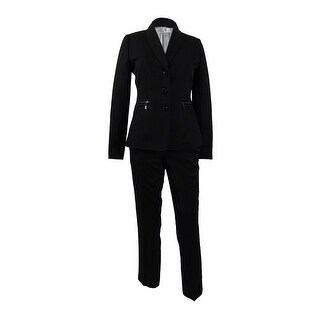 Tahari ASL Women's Petite Three-Button Zip-Pocket Pantsuit - Black
