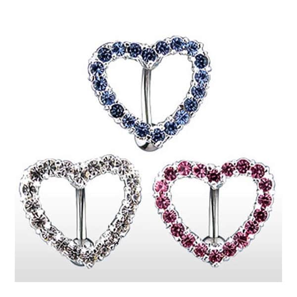 """Stainless Steel Top Down Navel Belly Button Ring with Gem Paved Heart - 14 GA 3/8"""" Long - Clear"""