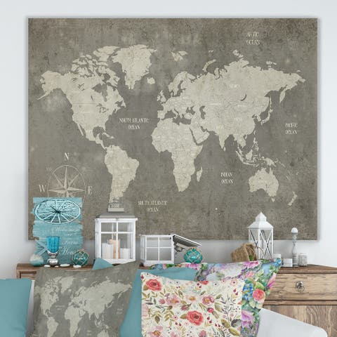 Designart ' Slate World Map' Cottage Canvas Wall Art