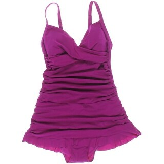 Profile by Gottex Womens Shirred Faux Wrap One-Piece Swimsuit - 6