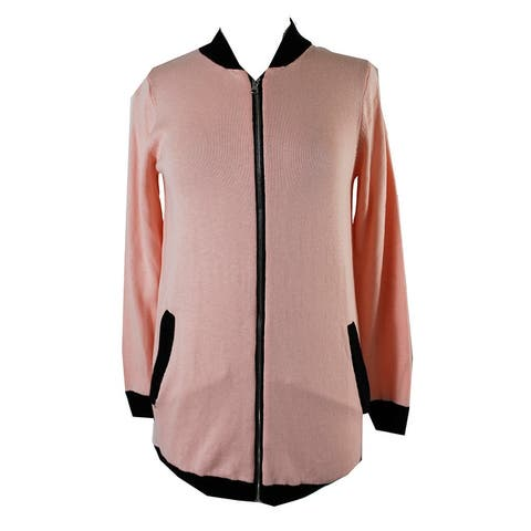 Ny Collection Pink Black Trim Long Bomber Sweater Jacket XS