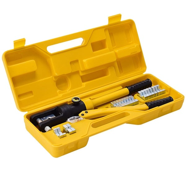 12 Ton Hydraulic Wire Terminal Crimper Battery Cable Lug Crimping Tool w//Dies
