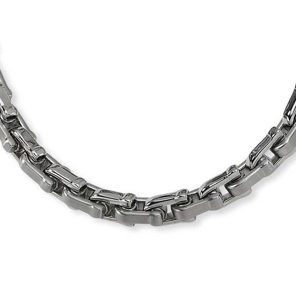 Chisel Brushed and Polished Stainless Steel Necklace - 20 Inches (7 mm) - 24 in