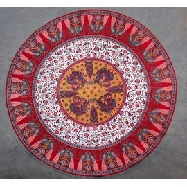 Beautiful Handmade 100-percent Cotton Floral Peacock 72 Inch Round Tablecloth Astonishing Blue Red