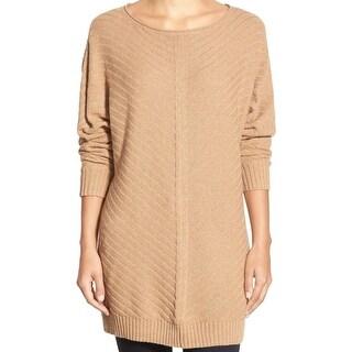 Caslon NEW Brown Women's Size XS Chevron Mix Stitch Knit Tunic Sweater