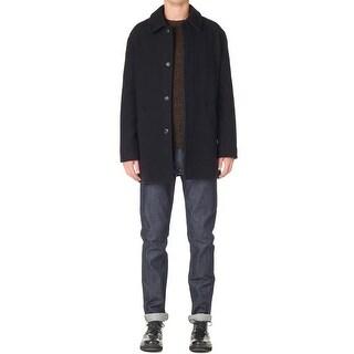 A.P.C. Sven Mac Coat Large Dark Navy Wool Blend Fully Lined