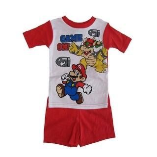 Super Mario Boys White Short Sleeve Pajama Set